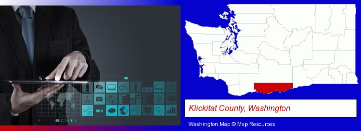 information technology concepts; Klickitat County, Washington highlighted in red on a map