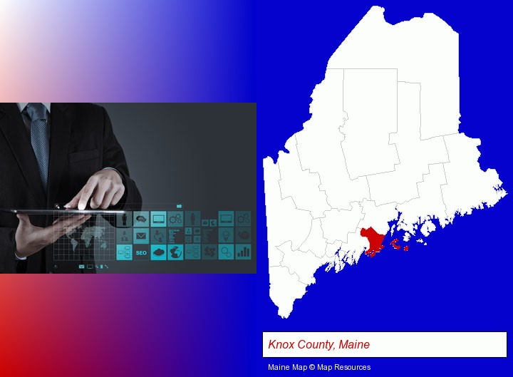 information technology concepts; Knox County, Maine highlighted in red on a map