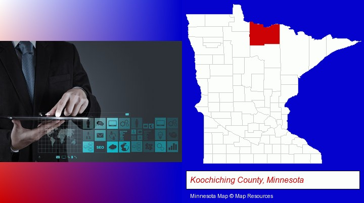 information technology concepts; Koochiching County, Minnesota highlighted in red on a map
