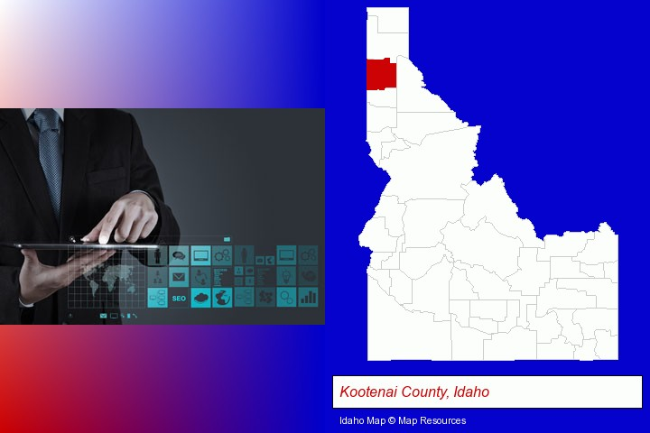 information technology concepts; Kootenai County, Idaho highlighted in red on a map