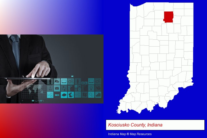 information technology concepts; Kosciusko County, Indiana highlighted in red on a map