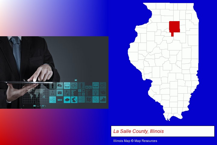 information technology concepts; La Salle County, Illinois highlighted in red on a map