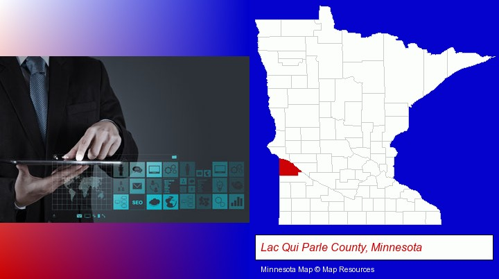 information technology concepts; Lac Qui Parle County, Minnesota highlighted in red on a map