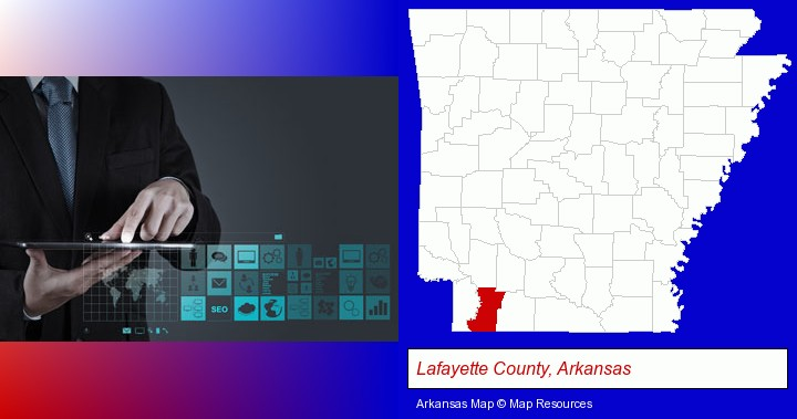 information technology concepts; Lafayette County, Arkansas highlighted in red on a map