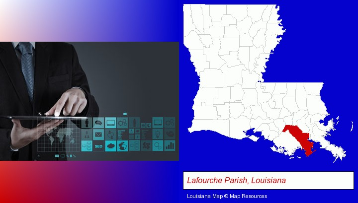information technology concepts; Lafourche Parish, Louisiana highlighted in red on a map