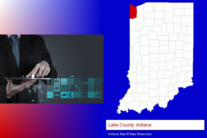 information technology concepts; Lake County, Indiana highlighted in red on a map