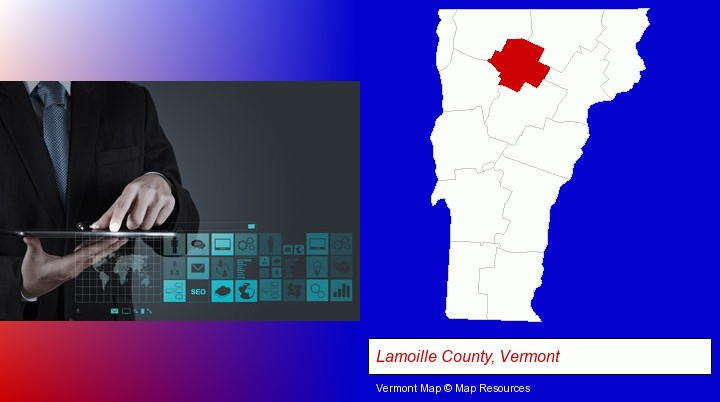 information technology concepts; Lamoille County, Vermont highlighted in red on a map