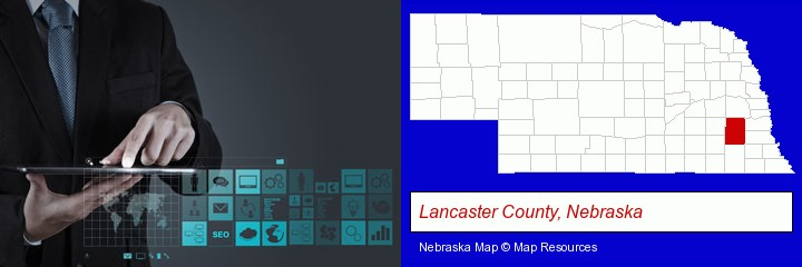 information technology concepts; Lancaster County, Nebraska highlighted in red on a map