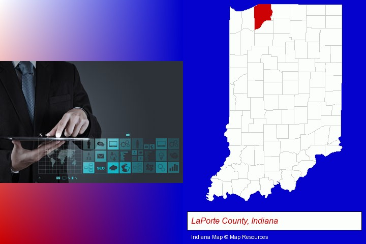 information technology concepts; LaPorte County, Indiana highlighted in red on a map