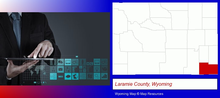 information technology concepts; Laramie County, Wyoming highlighted in red on a map