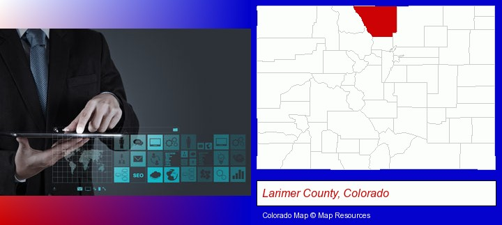 information technology concepts; Larimer County, Colorado highlighted in red on a map