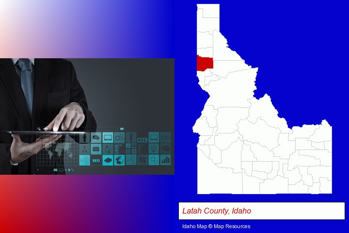 information technology concepts; Latah County, Idaho highlighted in red on a map