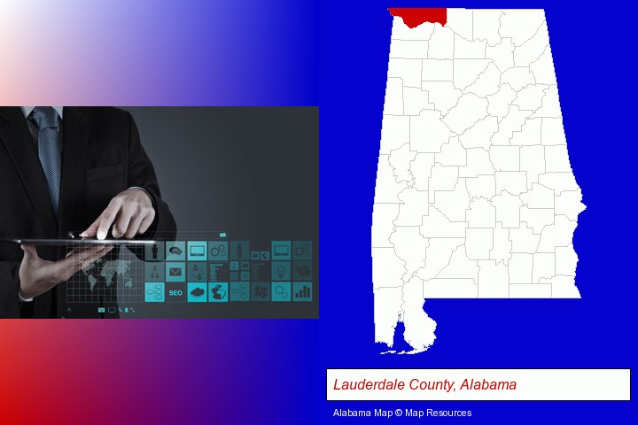 information technology concepts; Lauderdale County, Alabama highlighted in red on a map