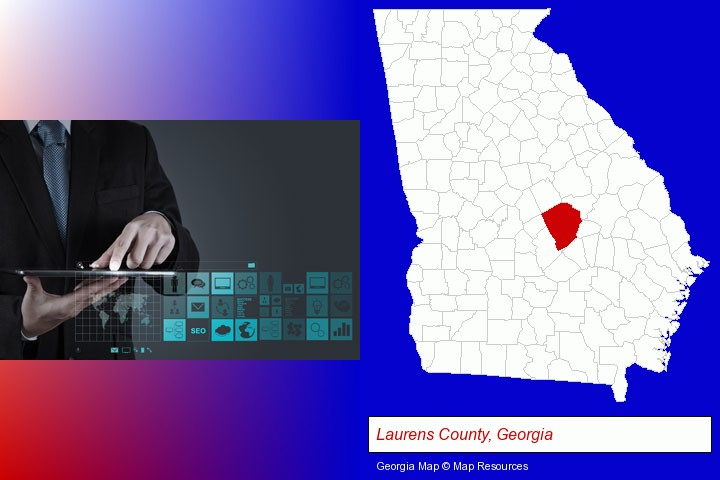 information technology concepts; Laurens County, Georgia highlighted in red on a map