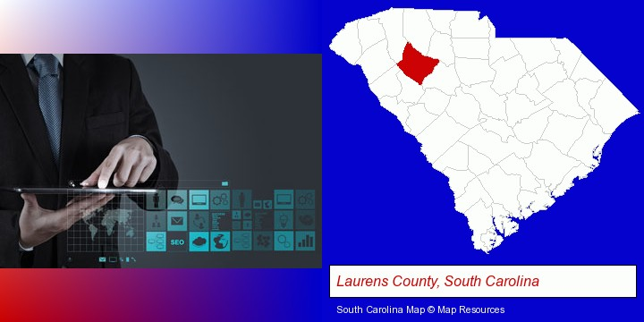 information technology concepts; Laurens County, South Carolina highlighted in red on a map
