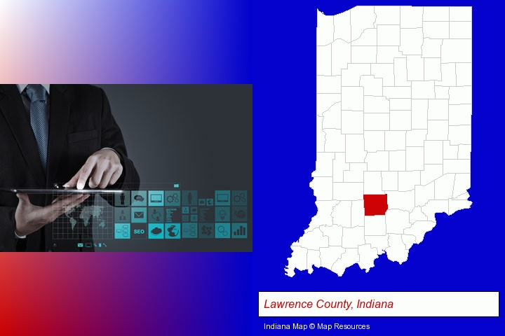 information technology concepts; Lawrence County, Indiana highlighted in red on a map