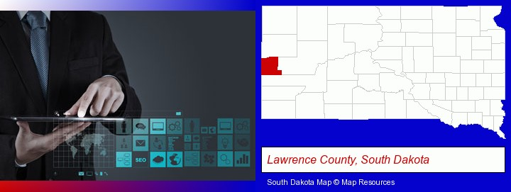 information technology concepts; Lawrence County, South Dakota highlighted in red on a map