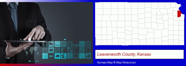 information technology concepts; Leavenworth County, Kansas highlighted in red on a map