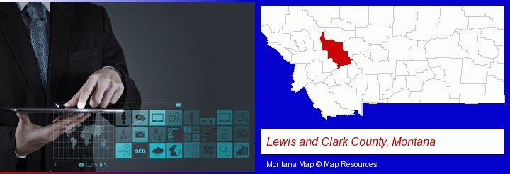 information technology concepts; Lewis and Clark County, Montana highlighted in red on a map