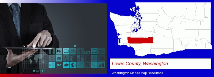 information technology concepts; Lewis County, Washington highlighted in red on a map