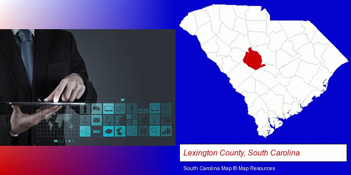 information technology concepts; Lexington County, South Carolina highlighted in red on a map