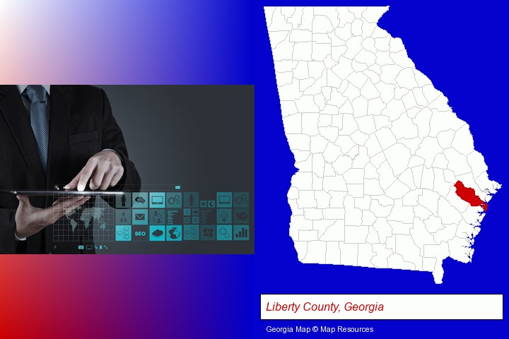 information technology concepts; Liberty County, Georgia highlighted in red on a map
