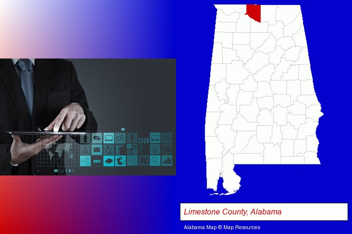 information technology concepts; Limestone County, Alabama highlighted in red on a map
