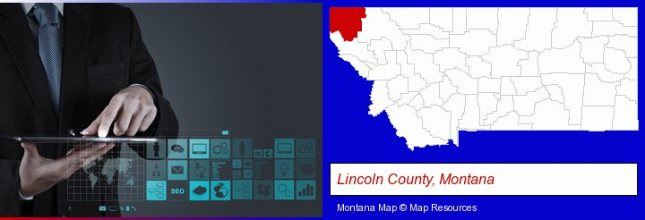information technology concepts; Lincoln County, Montana highlighted in red on a map