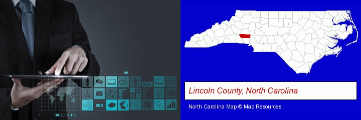 information technology concepts; Lincoln County, North Carolina highlighted in red on a map