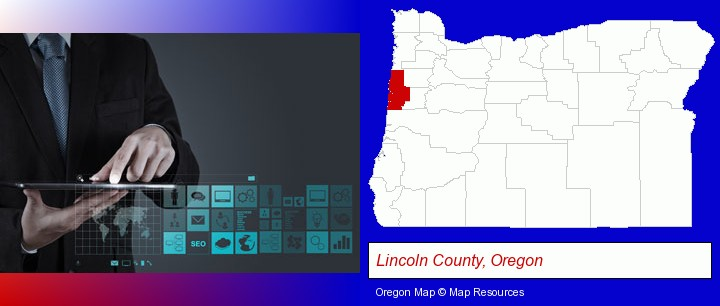 information technology concepts; Lincoln County, Oregon highlighted in red on a map