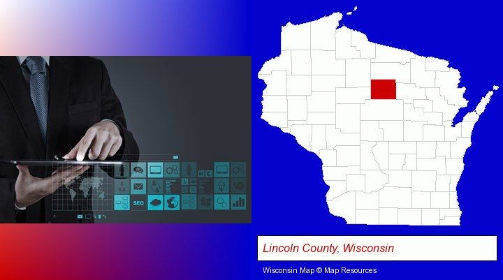 information technology concepts; Lincoln County, Wisconsin highlighted in red on a map