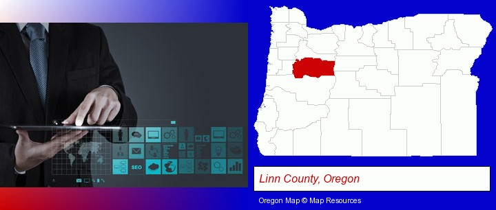 information technology concepts; Linn County, Oregon highlighted in red on a map