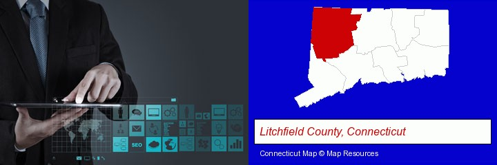 information technology concepts; Litchfield County, Connecticut highlighted in red on a map