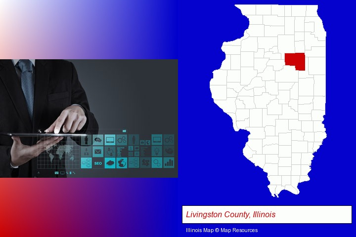 information technology concepts; Livingston County, Illinois highlighted in red on a map