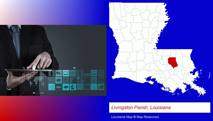 information technology concepts; Livingston Parish, Louisiana highlighted in red on a map