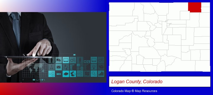information technology concepts; Logan County, Colorado highlighted in red on a map