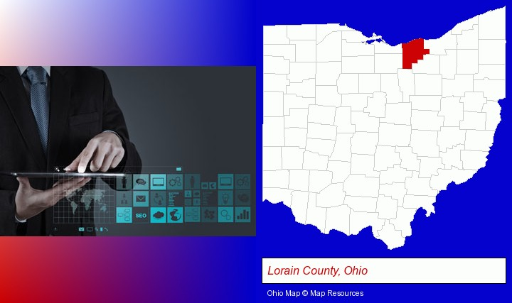 information technology concepts; Lorain County, Ohio highlighted in red on a map