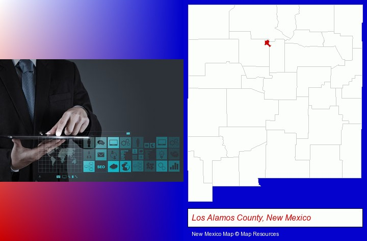 information technology concepts; Los Alamos County, New Mexico highlighted in red on a map