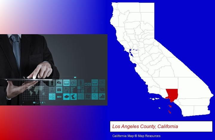information technology concepts; Los Angeles County, California highlighted in red on a map