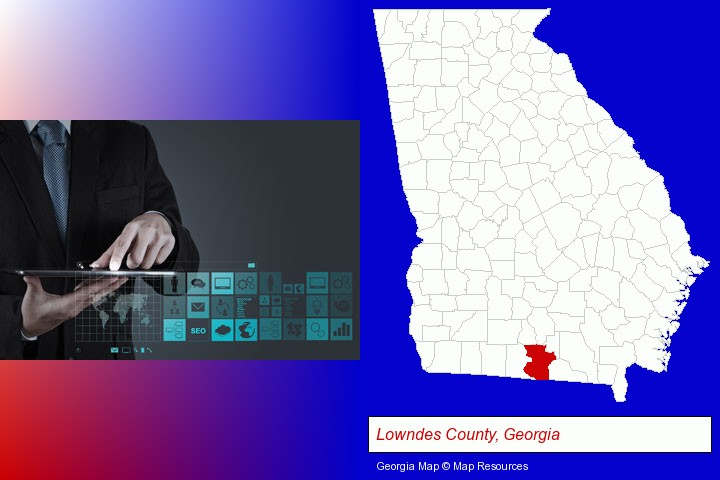 information technology concepts; Lowndes County, Georgia highlighted in red on a map