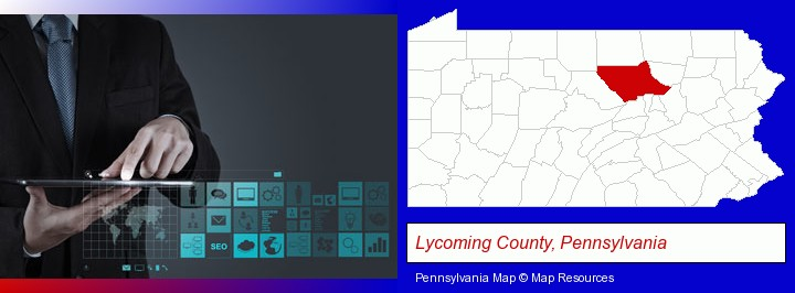 information technology concepts; Lycoming County, Pennsylvania highlighted in red on a map