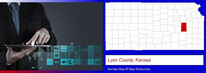 information technology concepts; Lyon County, Kansas highlighted in red on a map