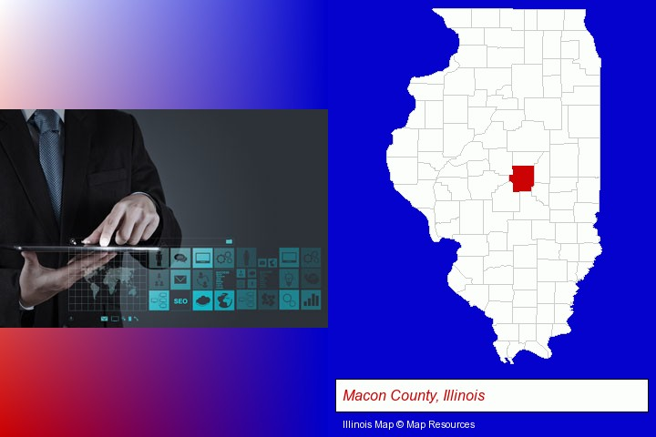 information technology concepts; Macon County, Illinois highlighted in red on a map