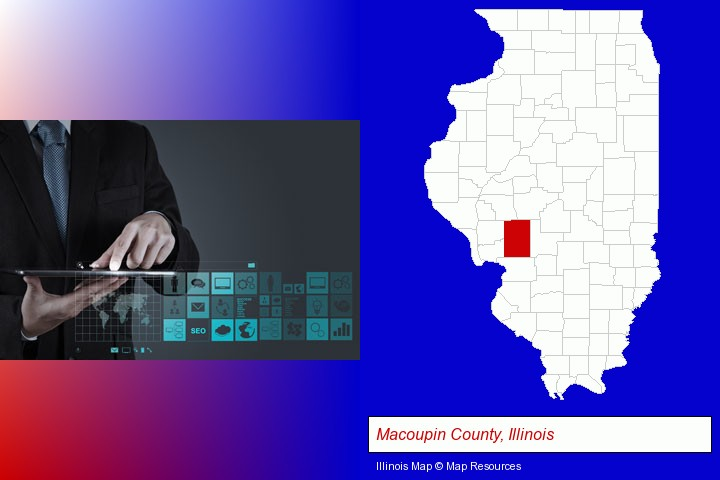 information technology concepts; Macoupin County, Illinois highlighted in red on a map