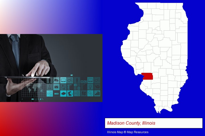 information technology concepts; Madison County, Illinois highlighted in red on a map