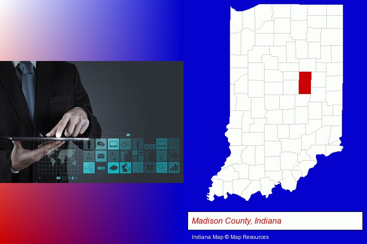 information technology concepts; Madison County, Indiana highlighted in red on a map