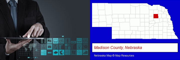 information technology concepts; Madison County, Nebraska highlighted in red on a map