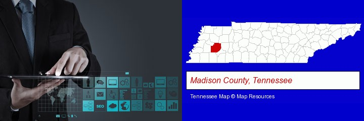 information technology concepts; Madison County, Tennessee highlighted in red on a map