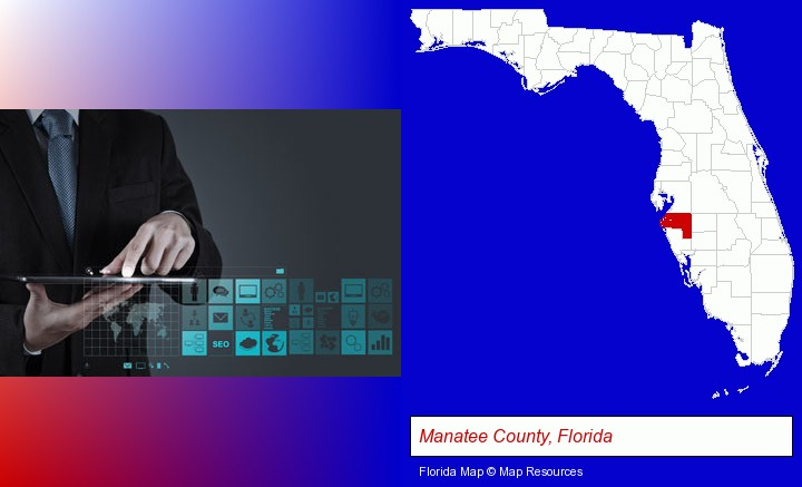 information technology concepts; Manatee County, Florida highlighted in red on a map