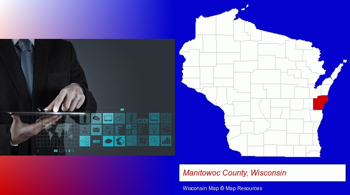 information technology concepts; Manitowoc County, Wisconsin highlighted in red on a map